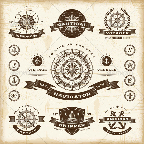 Vintage Nautical Labels Set - Decorative Symbols Decorative