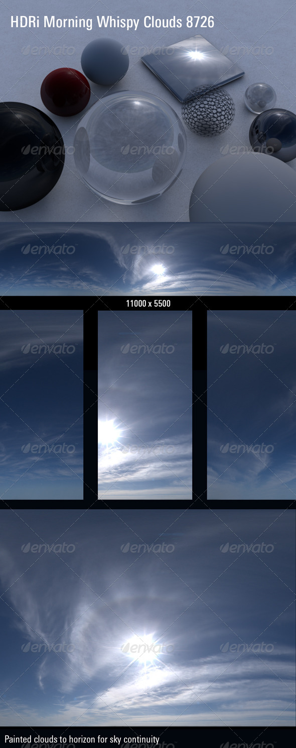 HDRi 360 Sky Dome Whispy Morning Hot Sun 8726 - 3DOcean Item for Sale