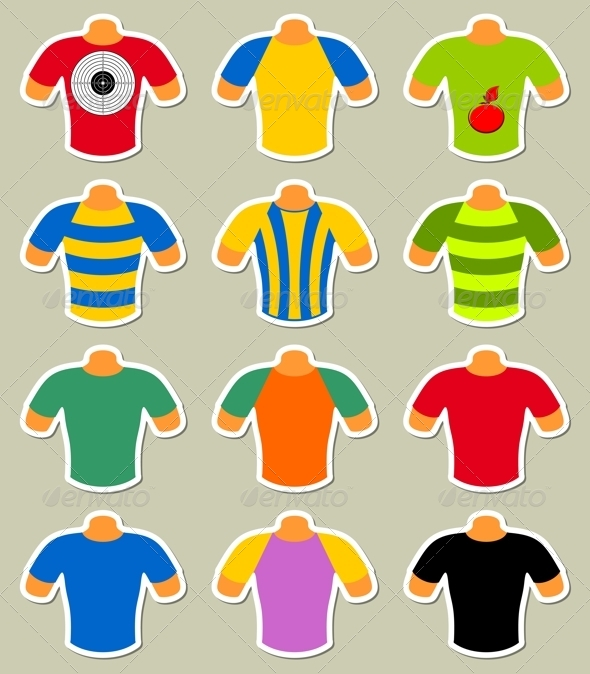 Set of Multicolored T-Shirts - Objects Vectors