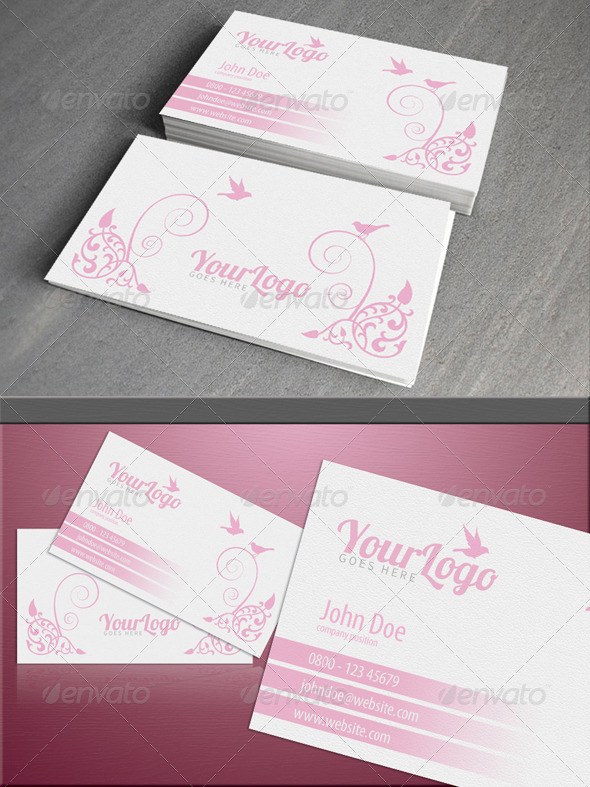 Feminine pink card - Business Cards Print Templates