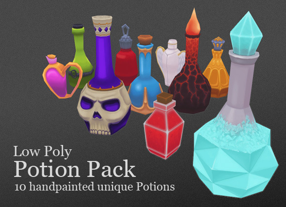 Low Poly Potion Pack - 3DOcean Item for Sale