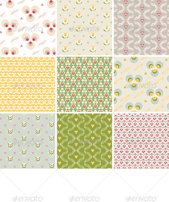 Seamless Pattern with Floral Texture - Patterns Decorative