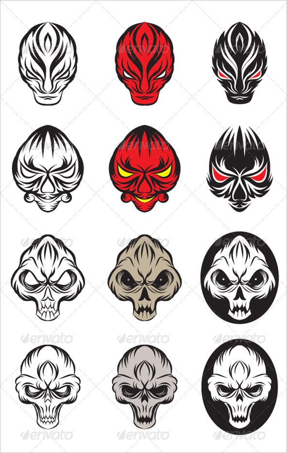 Skull and Devil Vector Set - Monsters Characters
