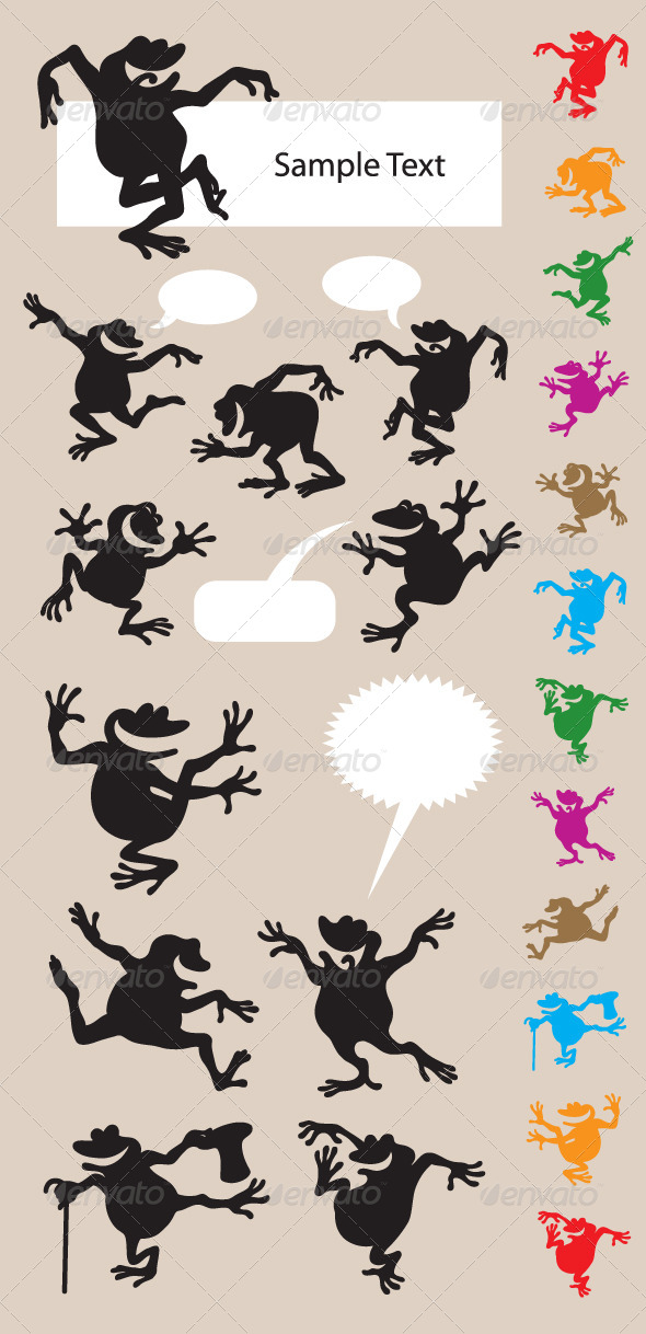 Frog Dancing Silhouettes - Animals Characters