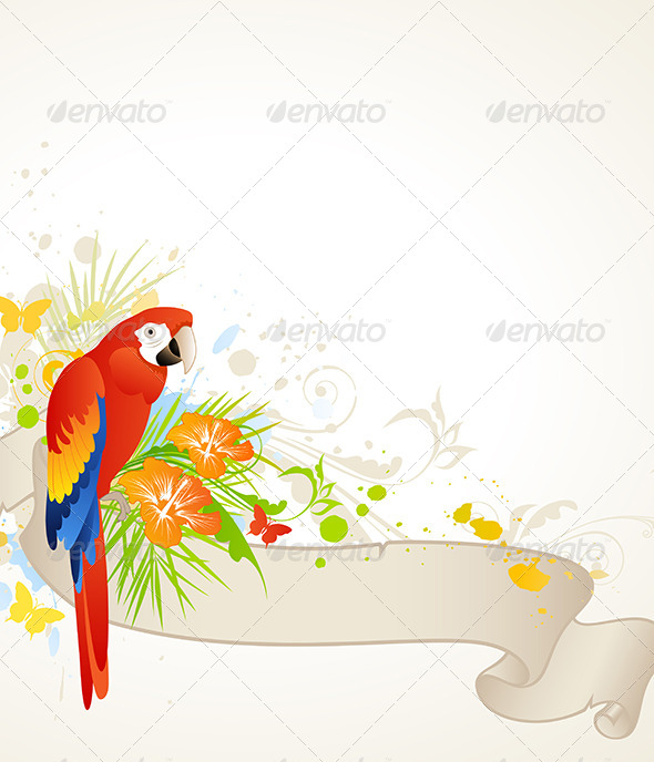 Summer Banner with Red Parrot - Animals Characters