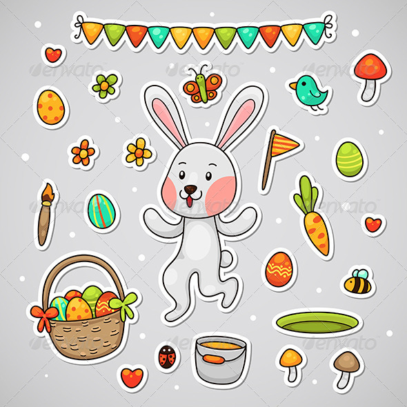 Sticker with the Easter bunny - Seasons/Holidays Conceptual