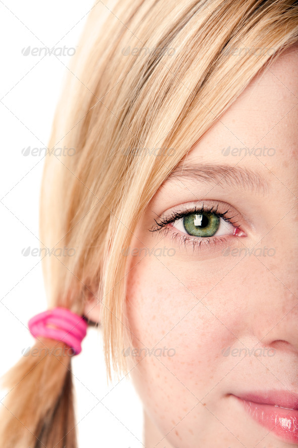 Watchful eye - half face - Stock Photo - Images