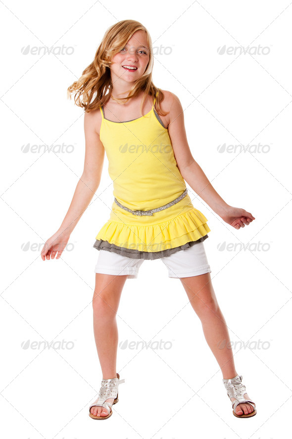 Fun and dancing girl - Stock Photo - Images