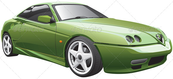 Green Sport Car - Vectors