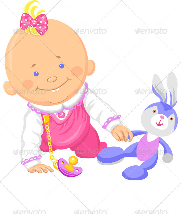 Vector Baby Girl Playing with a Toy Rabbit - People Characters