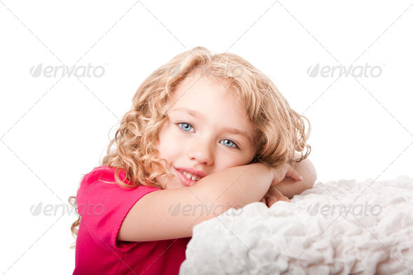 Cute happy girl daydreaming - Stock Photo - Images