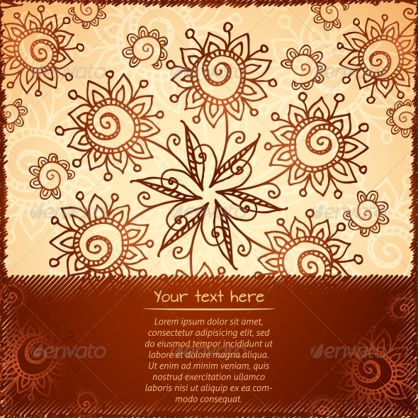 Ornate Vector Doodle Flowers Background - Flowers & Plants Nature
