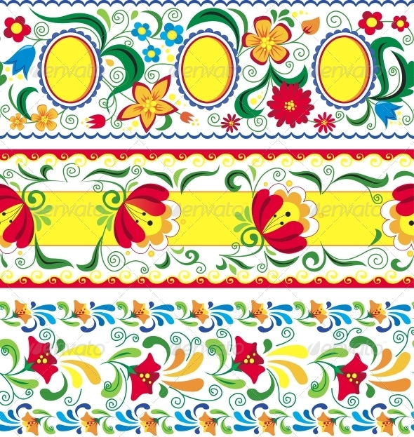 Artistic Decorative Set of Seamless Line Patterns - Flowers & Plants Nature