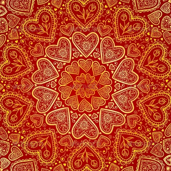 Ornamental Round Hearts Pattern in Indian Style by art_of ...