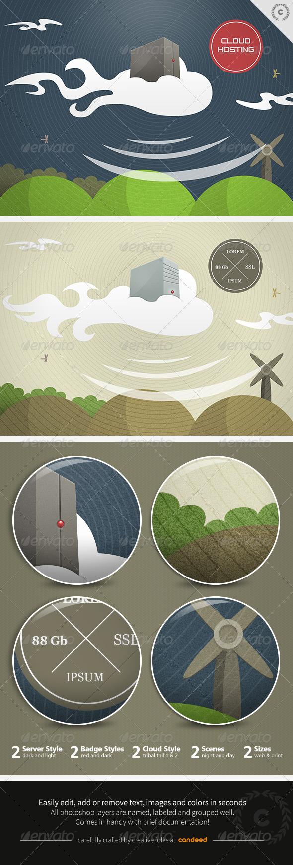Cloud Hosting Technology Illustration - Business Illustrations