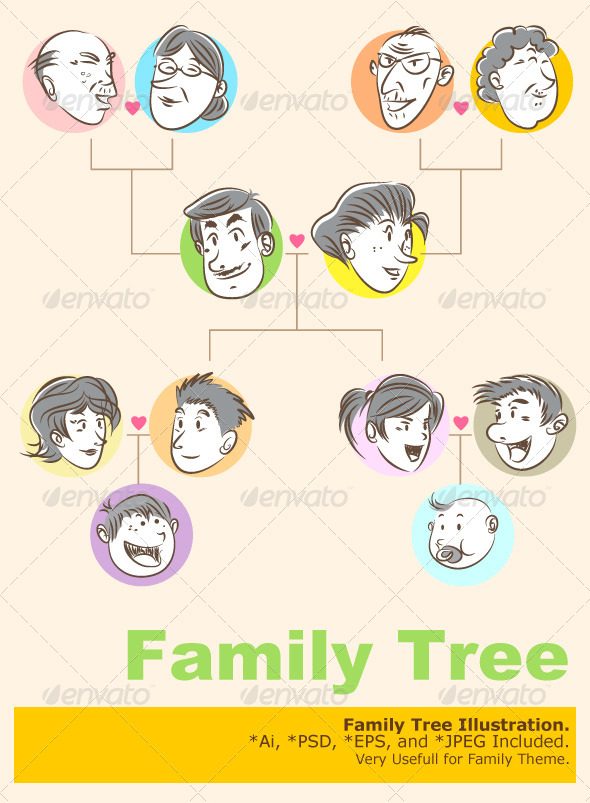Lovely Family Tree Doodle Style by branca_escova | GraphicRiver ML84