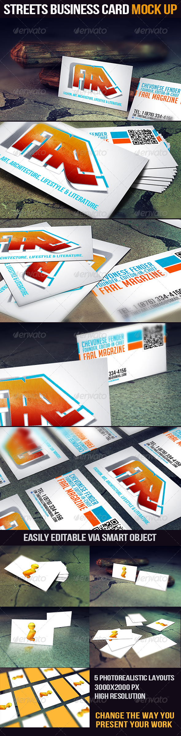 Streets Business Card Mock Up - Print Product Mock-Ups