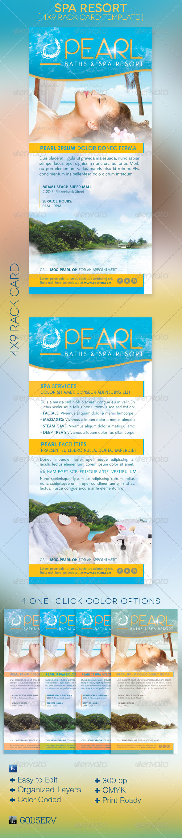 Spa Resort Rack Card Template - Commerce Flyers