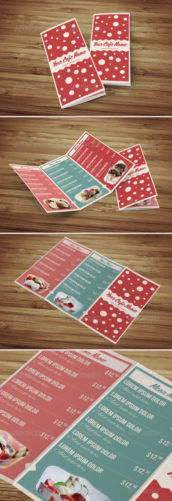 Sweet Shop and Ice Cream Trifold PSD Menu Template - Food Menus Print Templates
