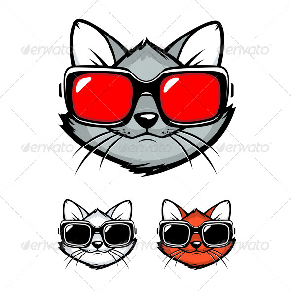 Cartoon Cat Face with Sunglasses - Animals Characters