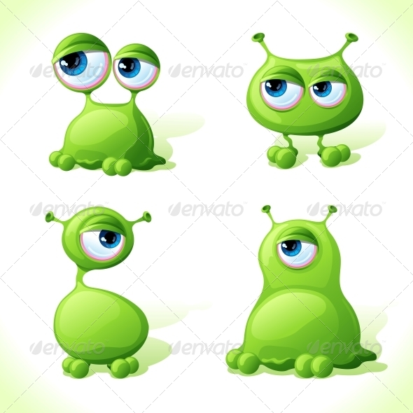 Vector Green Monsters. - Monsters Characters