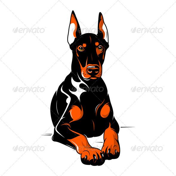 Doberman Pinscher. Cartoon Illustration - Animals Characters