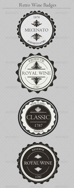 Vintage Wine Badges - Badges & Stickers Web Elements