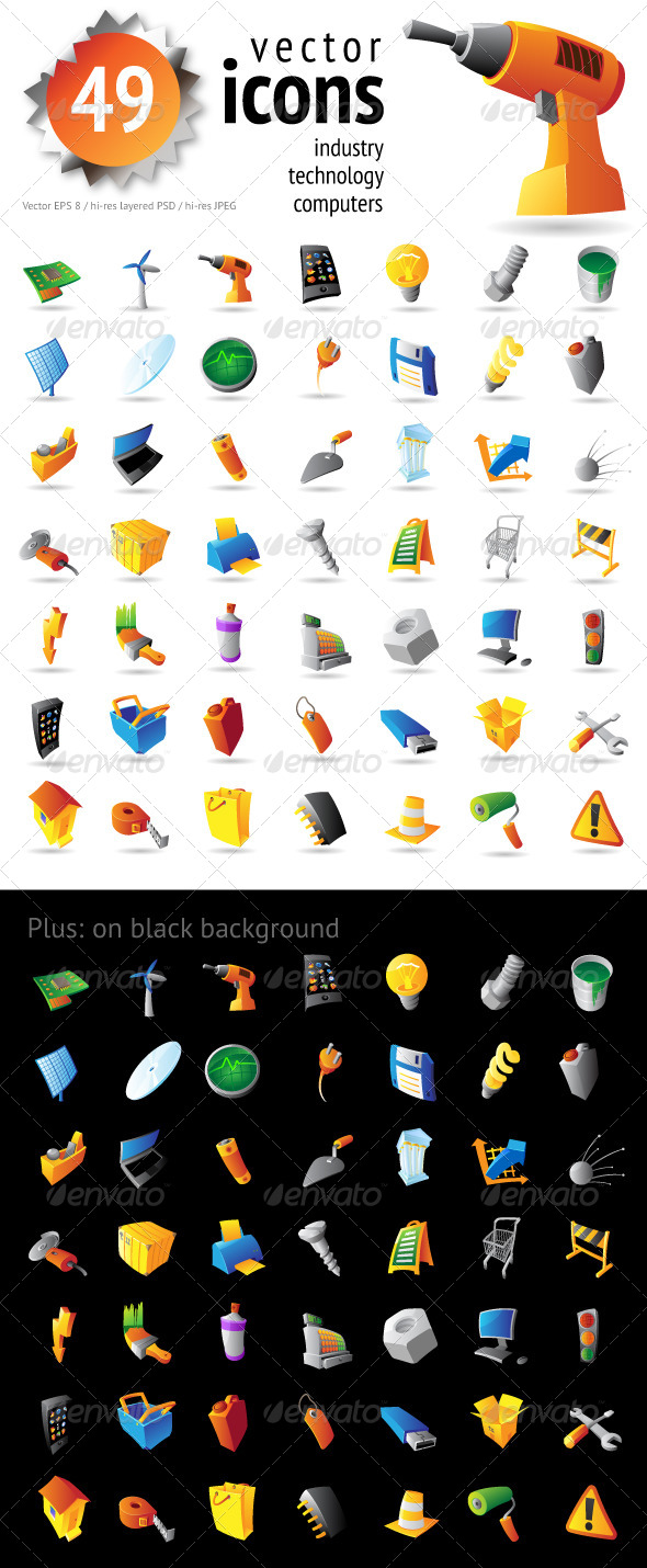 Icons for Industry, Technology and Computers - Icons