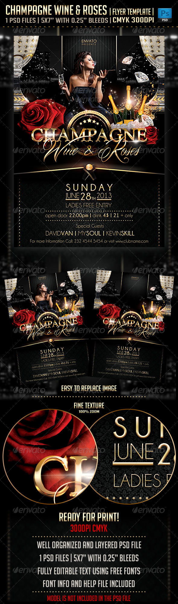 Champagne Wine & Roses Flyer Template - Clubs & Parties Events