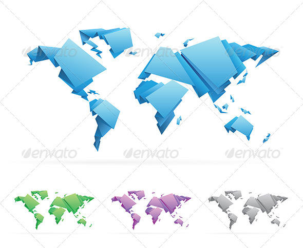 Origami Style World Map - Miscellaneous Vectors