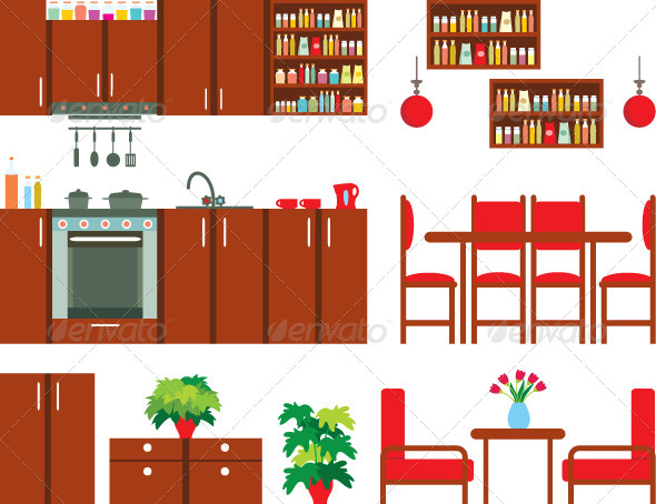 Set of Kitchen Furniture - Objects Vectors