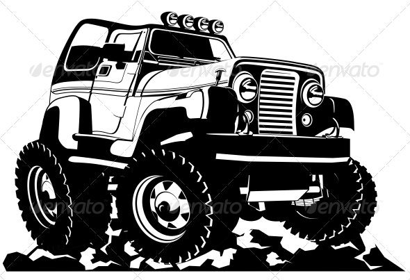 Cartoon jeep - Man-made Objects Objects