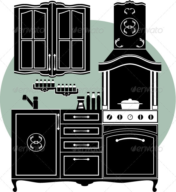 Kitchens and Accessories  - Objects Vectors