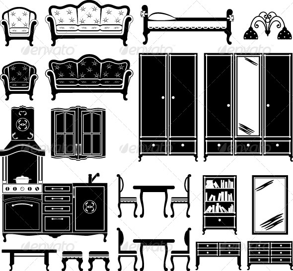 Furniture and Accessories for a Room  - Objects Vectors