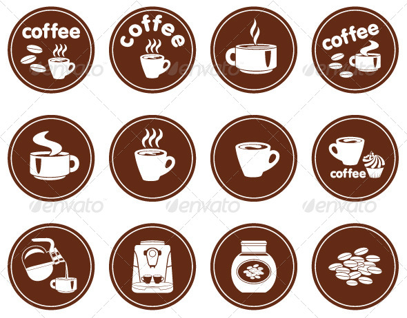 Set of Coffee Icons - Commercial / Shopping Conceptual
