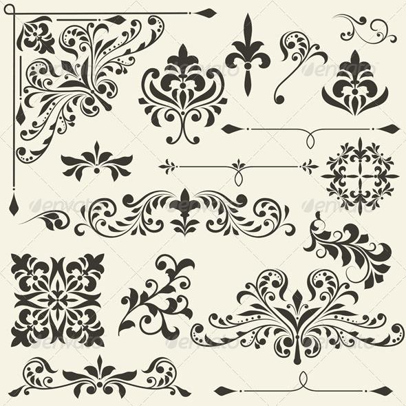 Vector  Vintage Floral  Design Elements - Decorative Symbols Decorative