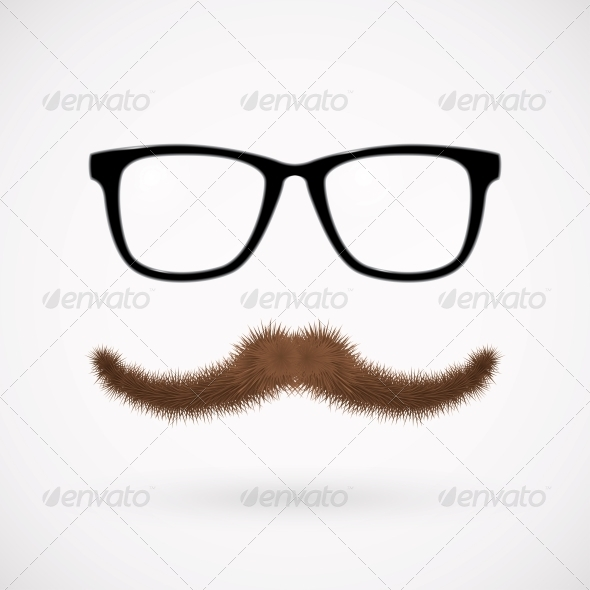 Hipster Glasses and Mustache - Decorative Symbols Decorative
