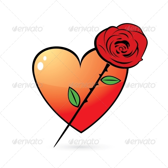 Rose and Glossy Heart Icon - Valentines Seasons/Holidays
