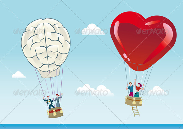 Reason and Emotion Balloons - Travel Conceptual