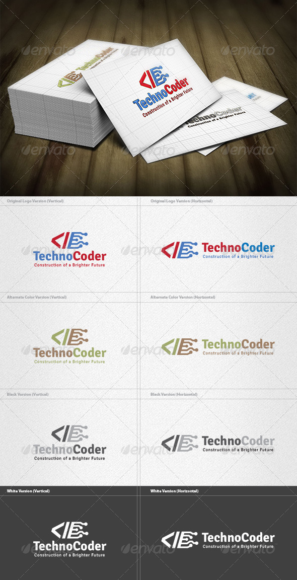 Techno Coder Logo - Vector Abstract