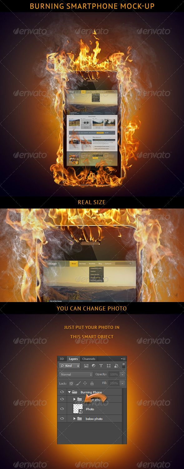 Burning Smartphone Mock-up - Mobile Displays