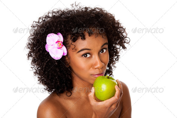 Healthy woman eating apple - Stock Photo - Images