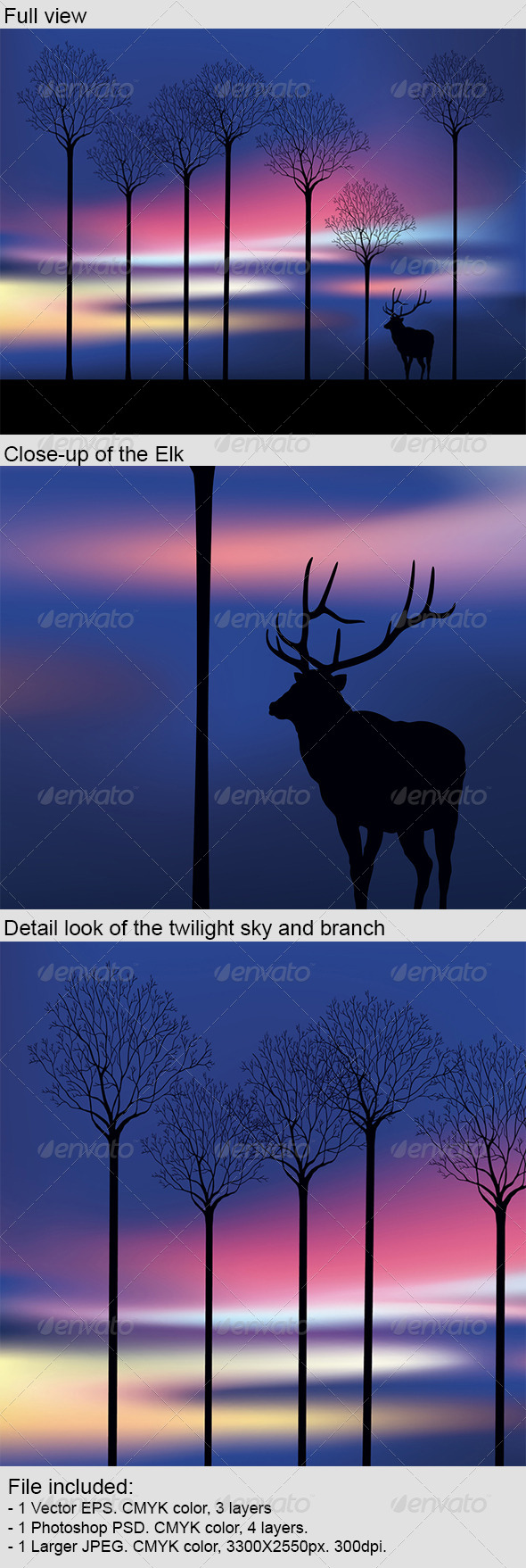 Elk in the Wood at Twilight - Conceptual Vectors