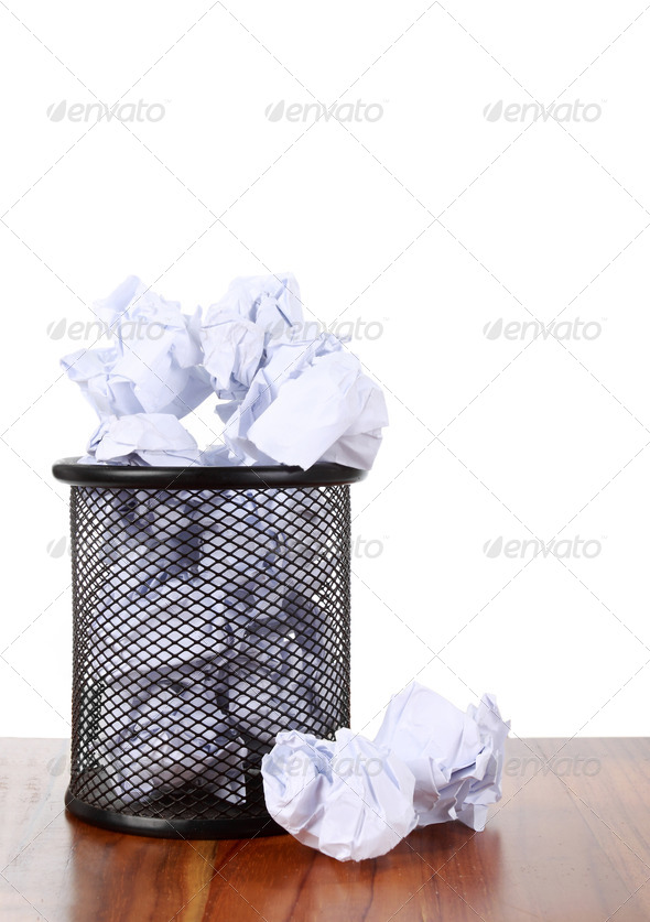 Garbage bin with waste paper - Stock Photo - Images