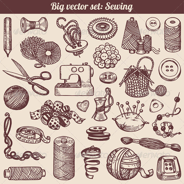 Sewing and Needlework Vector Set - Man-made Objects Objects