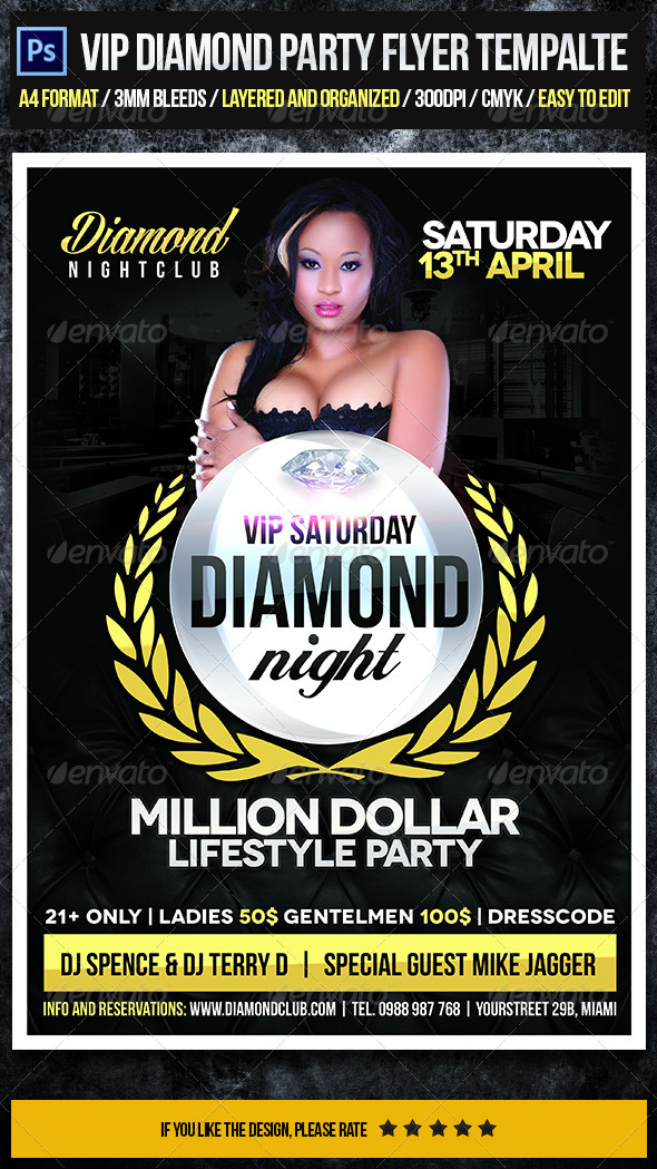 VIP Diamond Party Flyer Template - Clubs & Parties Events
