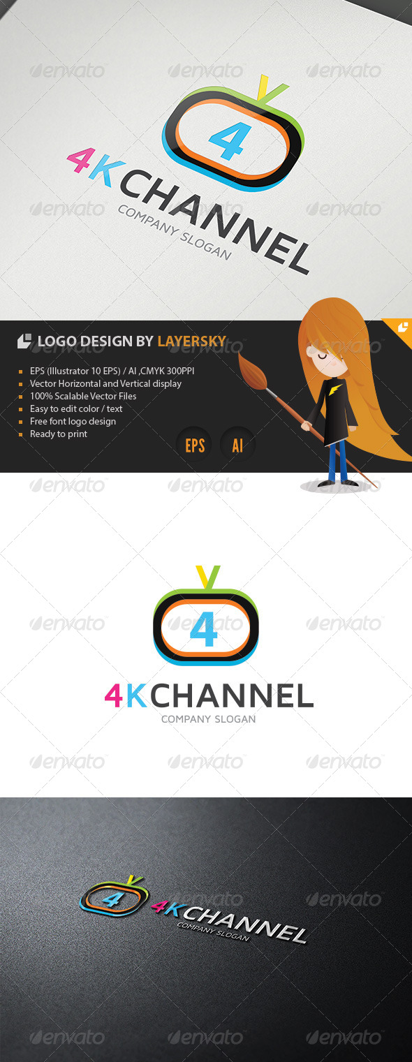 4K Television Channel Logo - Numbers Logo Templates