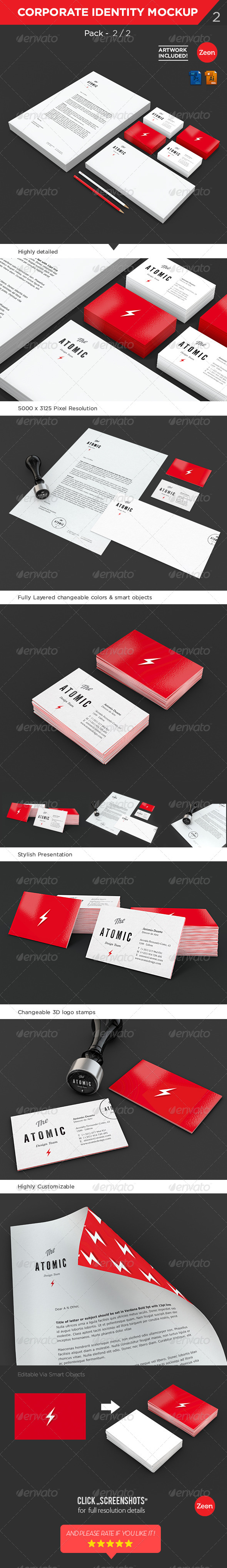 Brand Identity | Stationary Mockup - Pack:2/2 - Print Product Mock-Ups