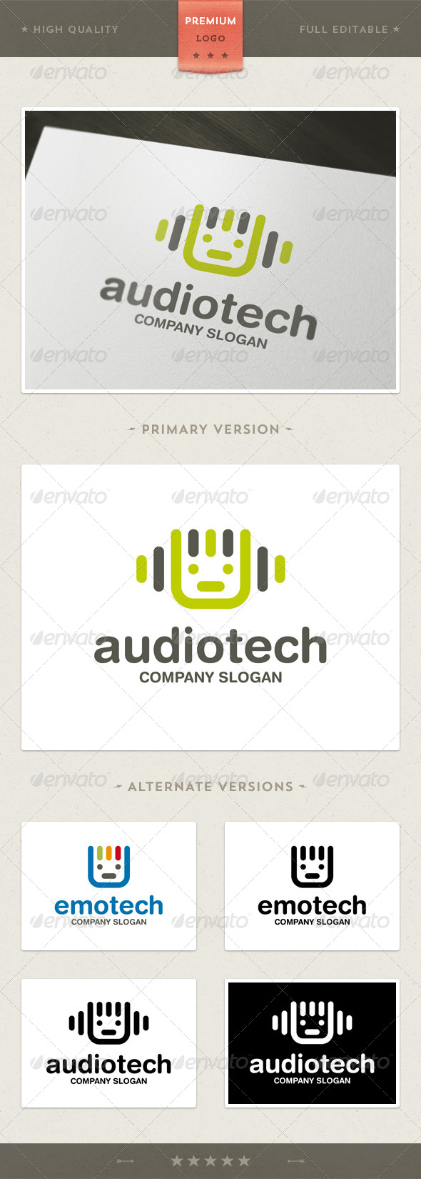 Audio and Tech Mascot Logo Template - Humans Logo Templates