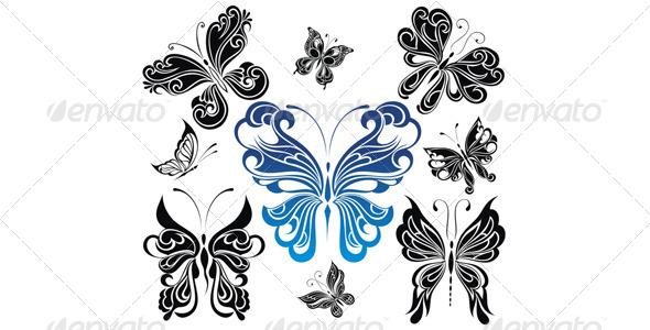 Butterflies Collection - Tattoos Vectors